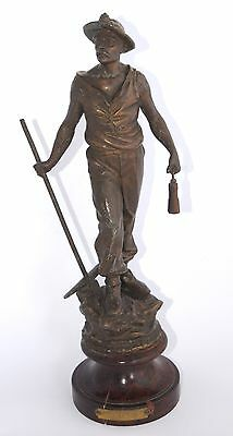 Antique French Spelter Figurine - LE MINEUR - The Miner 39cm Wooden Plinth