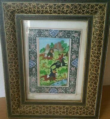 Vintage Persian Hunting Scene Painting In Khatam  Marquetry Frame