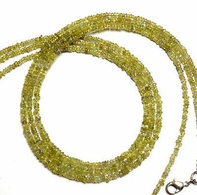 Natural Gem Chrysoberyl Cats Eye 2 to 4MM Smooth Rondelle Beads Necklace 16 Inch