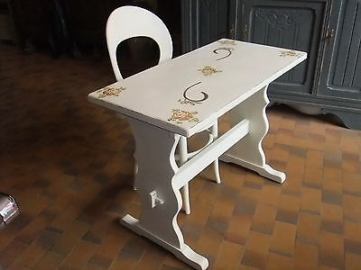 bureau chaise meuble console bois patiné coin informatique table d'appoint