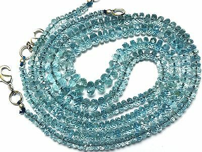 Natural Gem Super Quality Faceted Aquamarine 4-8MM Rondelle Beads Necklace 16""