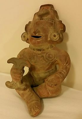 Vintage Pre Columbian Pottery Reproduction Man With Rattle