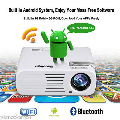 100% nuevo LED 1080P Proyector 5000 lm 2000:1 BT+WiFi+Android USB HDMI YPbPr ES