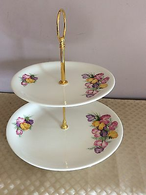 2 Tier Cake Stand Retro Style And Plate BRISTOL England High Tea Parties Display