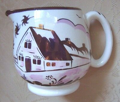 Vintage Copper Luster With Pink Old Castle Cream Pitcher.  Euc.