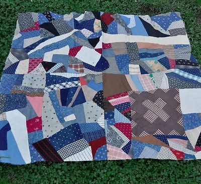 1880-1920 Unfinished Scrappy Crazy Antique Vintage Quilt Top Medallion Section