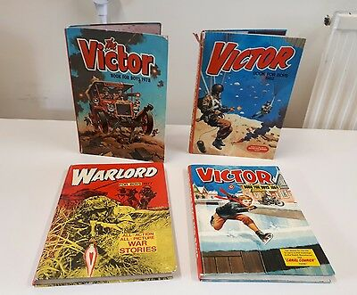 4 x Annuals Victor Book For Boys 78, 82, 84 Warlord For Boys 77 Vintage Retro