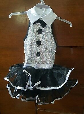 424b67cca872 NEW GIRLS BROADWAY Baby Leotard 7 8 Black Silver Hat Costume Dance ...