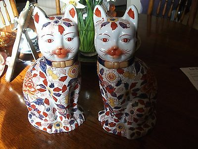 """Pair Of Large Vintage/antique Japanese Imari Pottery Cats 14"""" High"""