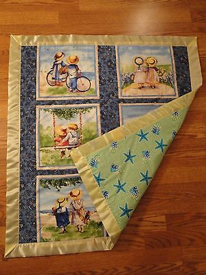 "Baby Girl Quilt, Handmade, By The Sea Theme, 100% Cotton, 36"" Square"