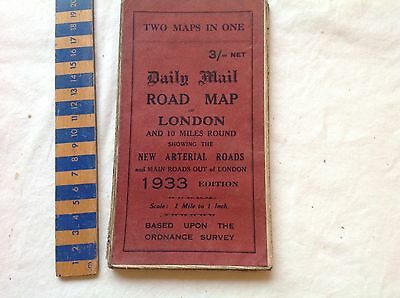 Vintage Daily Mail road map, 1933. 2 maps in one a) London and b) SE England