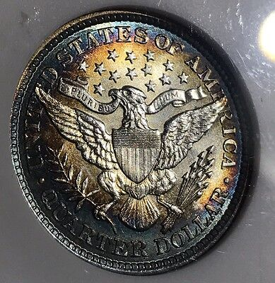 1892 Barber Silver Quarter MS61 Old ANACS. Holder Is Cracked. Toned Beauty.