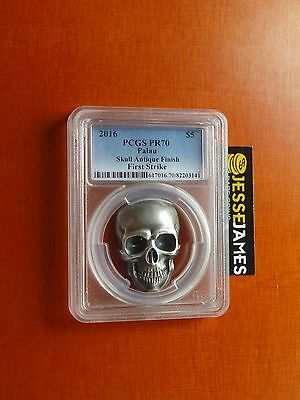 2016 $5 Palau Silver Skull Pcgs Pr70 First Strike Antique Finish W/box/coa 1 Oz