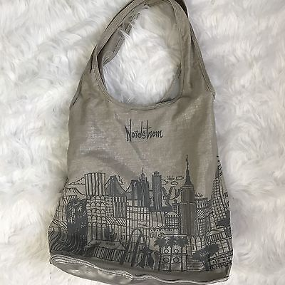 Nordstrom Tote Bag Gray Reusable Eco Foldable Zipper Shopping Cities City Print