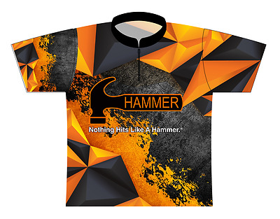 Hammer Orange Polygon Dye-Sublimated Bowling Jersey