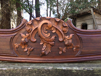 """Stunning French  Curvy Mahogany Pediment Highly Carved 76.5"""""""