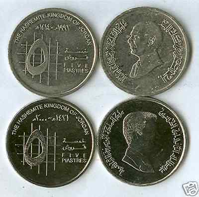 2 - 5 PIASTRE COINS from JORDAN - 1993 & 2000 (2 TYPES)