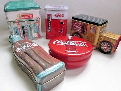 5 1990's Coca Cola Collector Tin s Truck Vending Station Coke Bottle Button