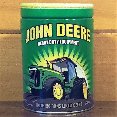 JOHN DEERE The Tin Box Company Round Can Canister COIN BANK Green~Yellow Logo