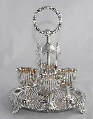 Stunning! Vintage Silver Plate 4 Egg Cruet Set - Stand with Spoons & Egg Cups