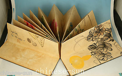 Ancient Chinese Old Paper Handmade Painting Locust Statue Book Decoration