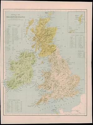 "1865 - Antique Map of ""PHYSICAL MAP OF THE BRITISH ISLES"" United Kingdom (15)"