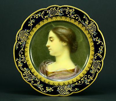 * Antique Dated 1892 Hand Painted Fine Porcelain Portrait Plate Signed Chicago