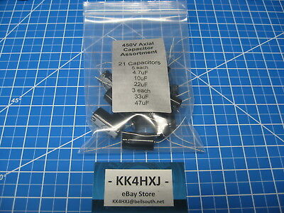 450V Electrolytic Axial Capacitor Assortment - 5 Values- SC GHA- 21 Total in Kit