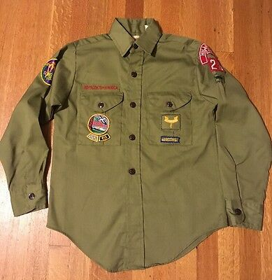 Vintage Boy Scout Uniform Shirt w/ Patches Hillsboro Oregon 526 BSA Boy's 12R