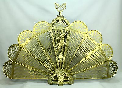 * Vintage ART DECO Cast Brass Fireplace Fan Screen Peacock