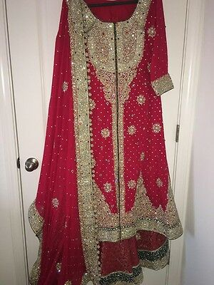 NEW Beautiful Pakistani Designer Bridal Dress Sharara Lehnga Small Size