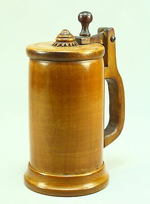 ! Antique Turned & Carved Treen Ware Wooden Lidded Stein Mug Tankard