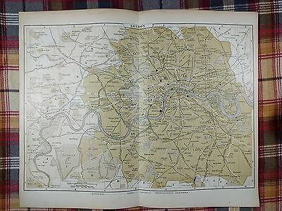 LONDON ENGLAND Map 1896 Antique Original Johnson's Blackwall Railroad RR MAPZ136