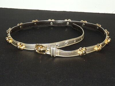 Vintage YSL Yves Saint Laurent Metallic Gold Narrow Belt w Studs Med - Italy