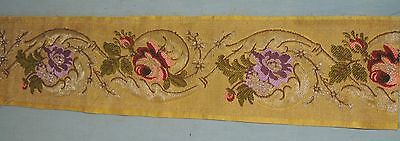 "Antique / Victorian Metallic Gold Brocaded Flower Wide Ribbon Trim 5""  X 38 1/2"""