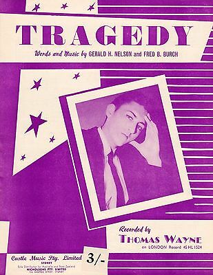 Thomas Wayne-Tragedy-1958 Sheet Music-Original Australian issue-Rare!