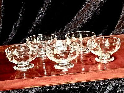 Magnificent  Vintage Stuart Crystal Etched Footed  Dessert Bowls Set Of5