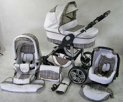 Pram Stroller Pushchair 3in1 ORION + FREE Car seat +Raincover -  41 colours