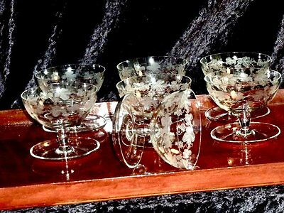 Magnificent  Vintage  Crystal Etched Footed  Dessert Bowls Set Of 7 Bohemia.