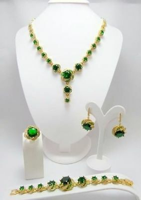 Exalted ! 925 Sterling Silver Brazil Clear Emerald Full Set