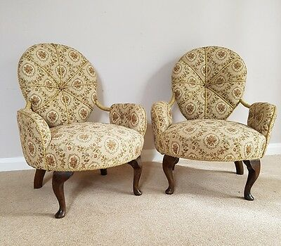 Pair of Antique Victorian Upholstered Bedroom Chairs; Queen Anne Legs c1900