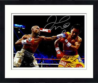 """Framed Floyd Mayweather Autographed 16"""" x 20"""" vs. Manny Pacquiao Photograph"""