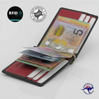 Genuine Cowhide Leather Slim Men Money Clip Wallet Card Holder,Black/Red