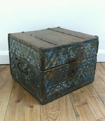 Antique Continental Swedish c1730 Oak Box with Original Iron Fixing. Patina!