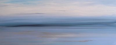 LARGE ORIGINAL MODERN ABSTRACT ACRYLIC SEASCAPE SILVER KNIFE PAINTING 100x40cm