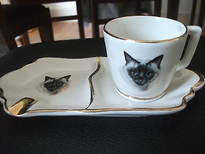 Vintage ESPRESSO CUP and ASHTRAY Siamese CAT collectible SIP 'N SMOKE! rare