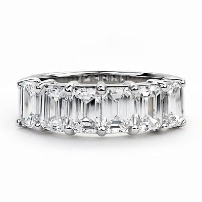 Emerald cut half eternity band 6x4mm 14k White Gold Over Wedding Band Ring Sz-7