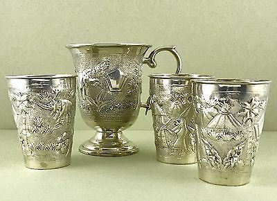 Vintage Asian Sterling Silver Drinking Cups 4 Pcs Set