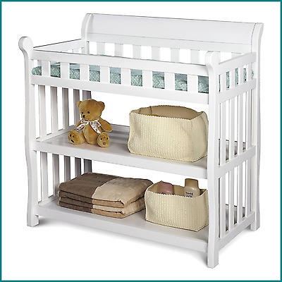 Changing Table For Babies White Finish Includes Changing Pad 2 Storage Shelves