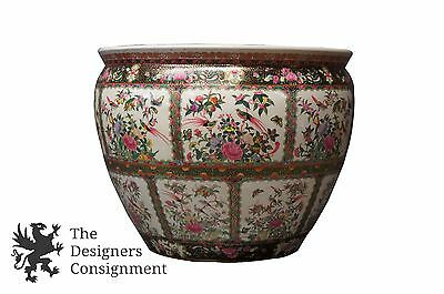 "21"" Antique Qing Dynasty Famille Rose Jardiniere Planter Pot Urn Herons Birds"